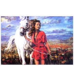 Beyaz At ve Kırmızı Elbiseli Kız Goblen Seti