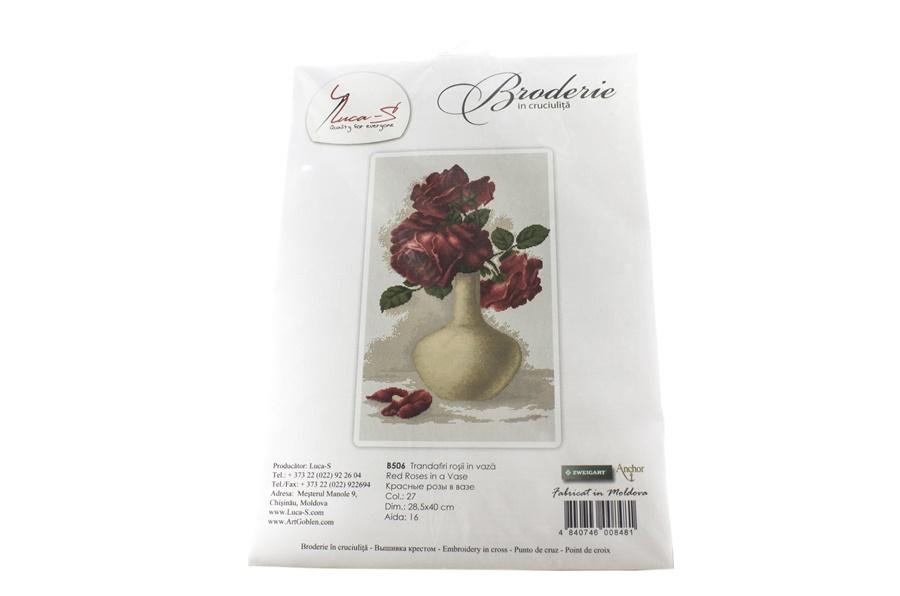 Vazonun İçindeki Kırmızı Güller Nakış Seti -B506