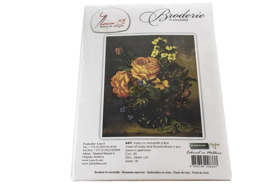Gül ve Çiçek Vazosu Nakış Seti -B491