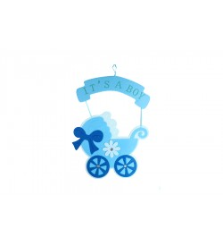 Mavi Bebek Arabalı Kapı Süsü