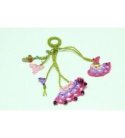 Pembe - Mor Çiçek Desenli Tığ Oyası
