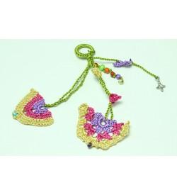 Fuşya Pembe - Mor Çiçek Desenli Tığ Oyası