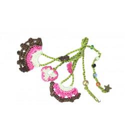 Fuşya Pembe -Kahverengi Çiçek Desenli Tığ Oyası