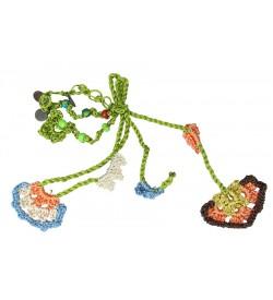 Turuncu - Açık Kahverengi Çiçek Desenli Tığ Oyası