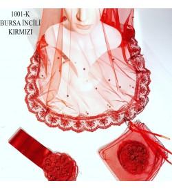 Kına Örtüsü Seti Bursa İncili Kırmızı 1001-K
