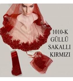 Kına Örtüsü Seti Güllü Sakallı Kırmızı 1010-K