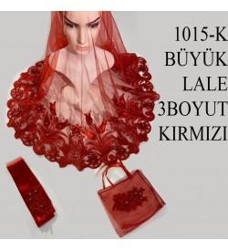 Kına Örtüsü Seti Büyük Lale 3 Boyutlu Kırmızı 1015-K
