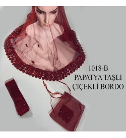 Kına Örtüsü Seti Papatya Taşlı Çiçekli Bordo 1018-B