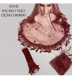 Kına Örtüsü Seti Saçaklı Taşlı Çiçek Bordo 1019-B
