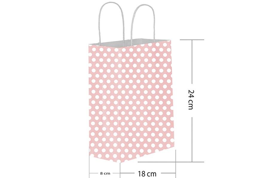 18x24 Büküm Saplı Pembe Puantiyeli Kağıt Çanta