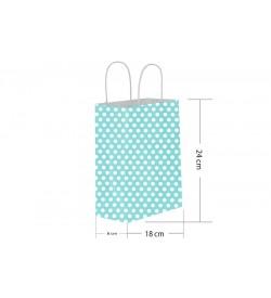 18x24 Büküm Saplı Mavi Puantiyeli Kağıt Çanta