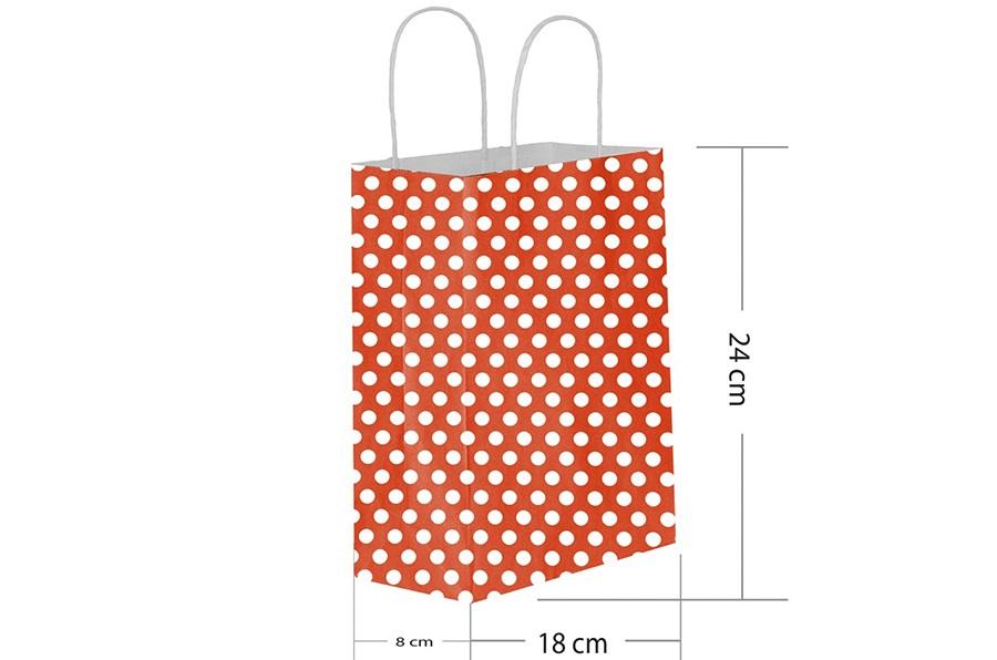 18x24 Büküm Saplı Kırmızı Puantiyeli Kağıt Çanta