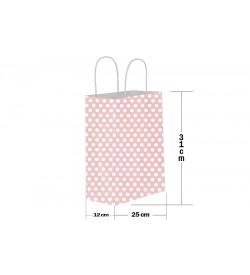 25x31 Büküm Saplı Pembe Puantiyeli Kağıt Çanta