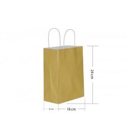 18x24 Büküm Saplı Gold Kağıt Çanta