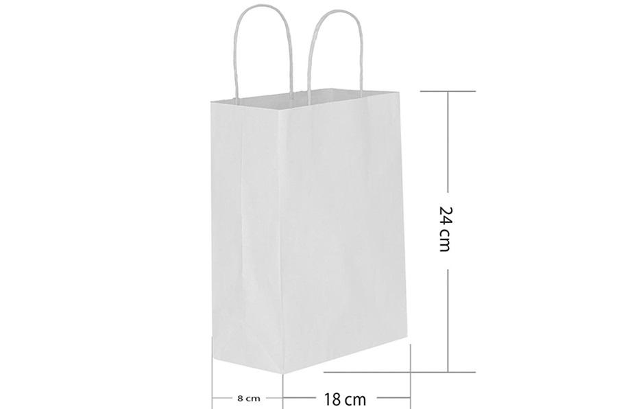 18x24 Büküm Saplı Beyaz Kağıt Çanta
