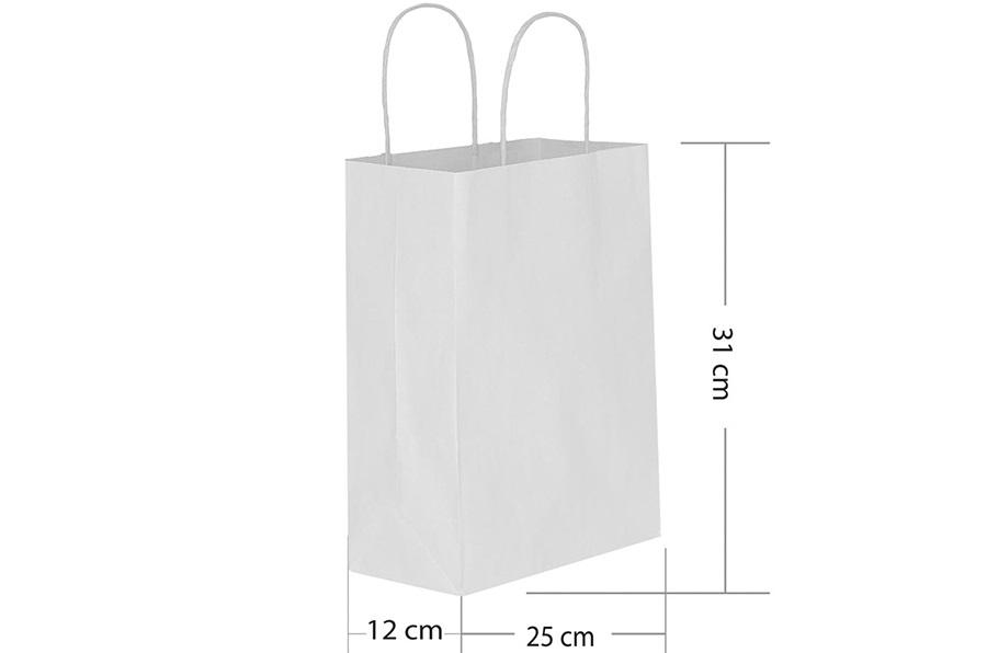 25x31 Büküm Saplı Beyaz Kağıt Çanta