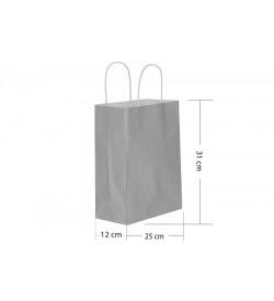 25x31 Büküm Saplı Gümüş Kağıt Çanta