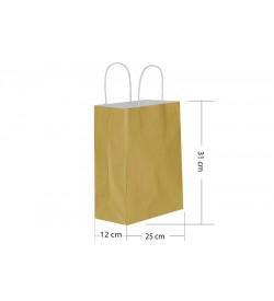 25x31 Büküm Saplı Gold Kağıt Çanta