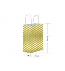 25x31 Büküm Saplı Gold Puantiyeli Kağıt Çanta