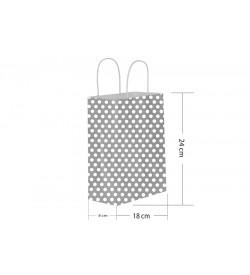 18x24 Büküm Saplı Gümüş Puantiyeli Kağıt Çanta