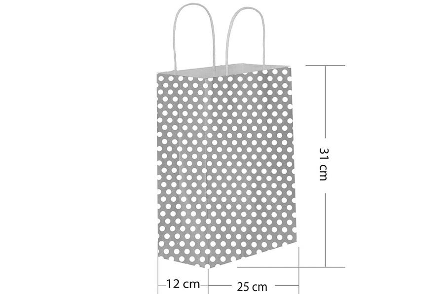 25x31 Büküm Saplı Gümüş Puantiyeli Kağıt Çanta