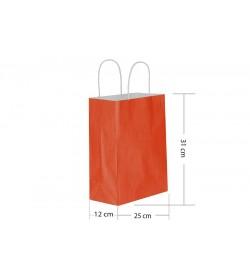 25x31 Büküm Saplı Kırmızı Kağıt Çanta