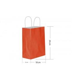 18x24 Büküm Saplı Kırmızı Kağıt Çanta