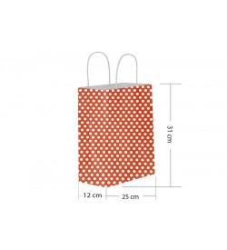 25x31 Büküm Saplı Kırmızı Puantiyeli Kağıt Çanta