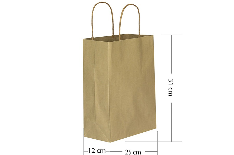 25x31 Büküm Saplı Kraft Kağıt Çanta