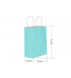 25x31 Büküm Saplı Mavi Kağıt Çanta