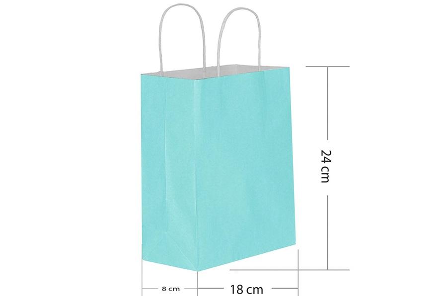 18x24 Büküm Saplı Mavi Kağıt Çanta