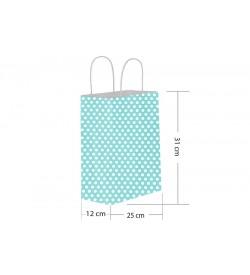 25x31 Büküm Saplı Mavi Puantiyeli Kağıt Çanta
