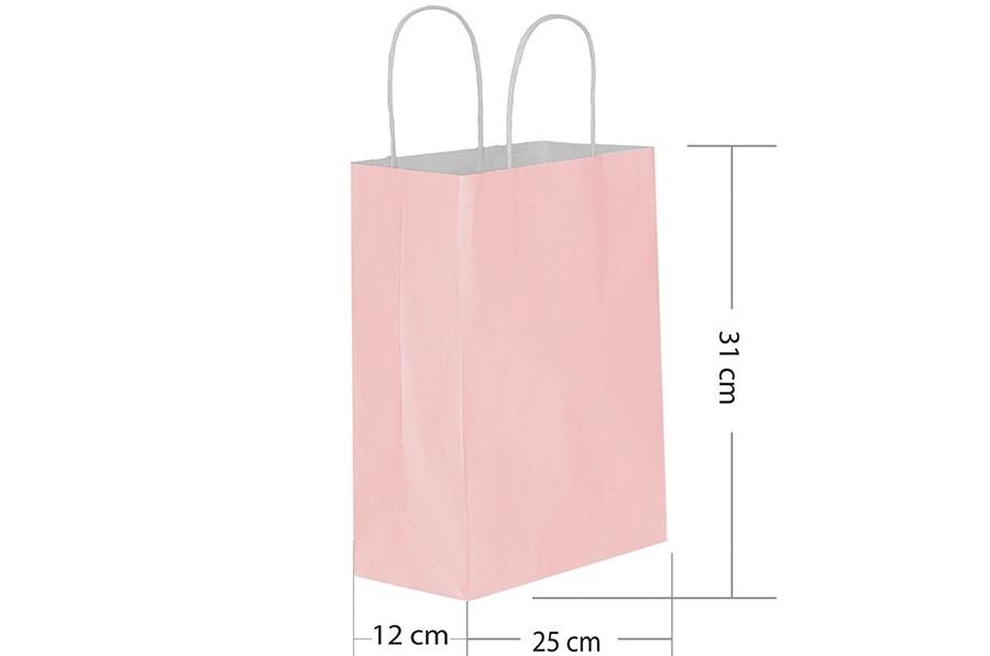 25x31 Büküm Saplı Pembe Kağıt Çanta