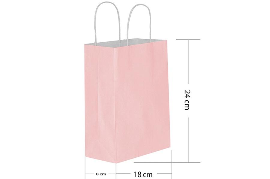 18x24 Büküm Saplı Pembe Kağıt Çanta