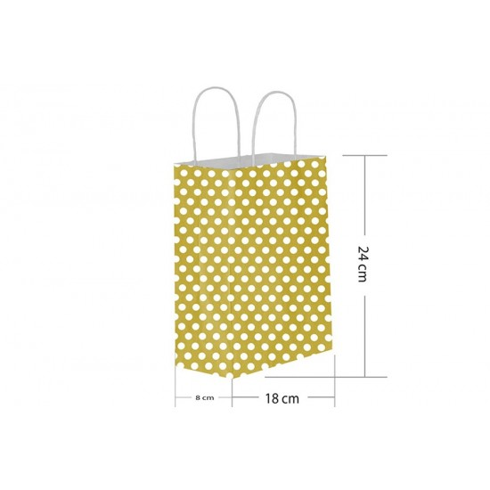 18x24 Büküm Saplı Gold Puantiyeli Kağıt Çanta