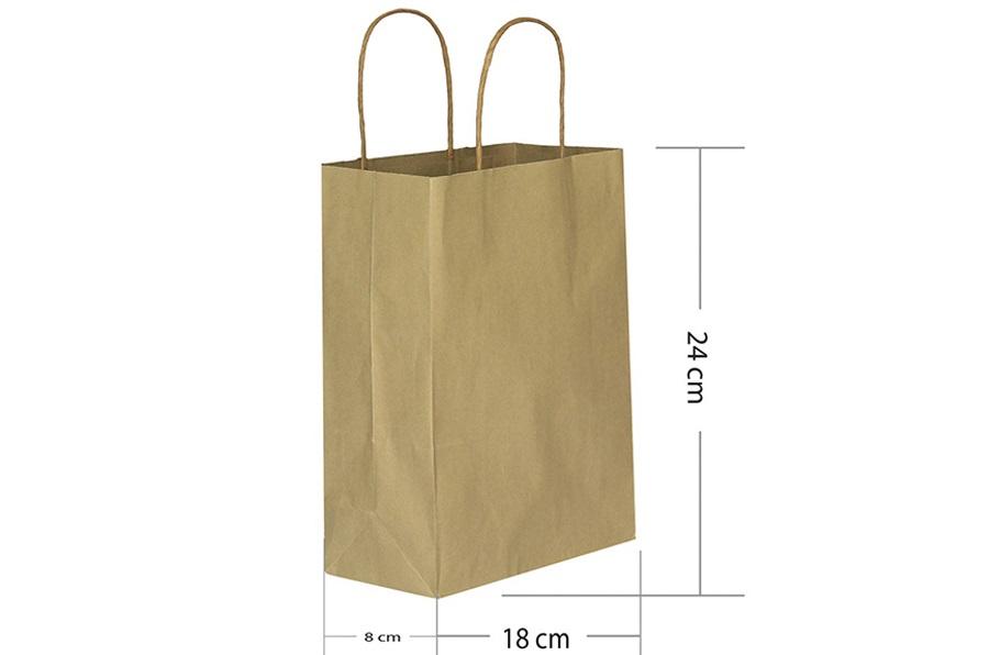 18x24 Büküm Saplı Kraft Kağıt Çanta