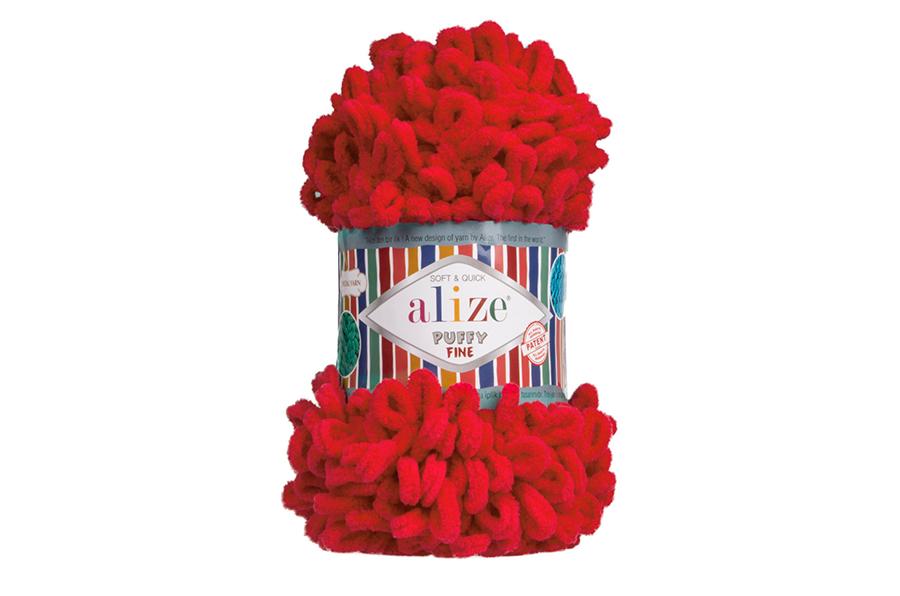 Alize Puffy Fine El Örgü İpi Kırmızı-56