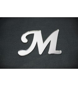 M Harfi Gümüş Pleksi Ayna