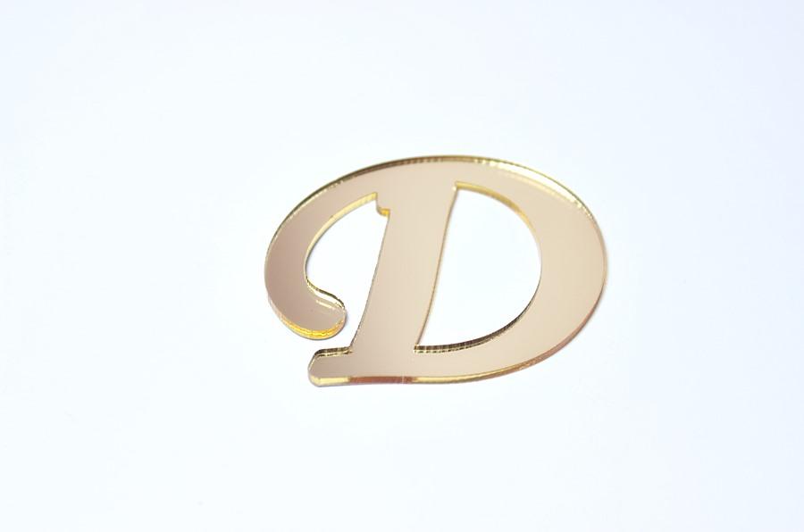 D Harfi Altın Sarısı Pleksi Ayna