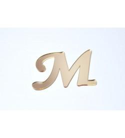 M Harfi Altın Sarısı Pleksi Ayna