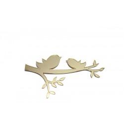 Kuş Figürü Altın Sarısı Pleksi Ayna