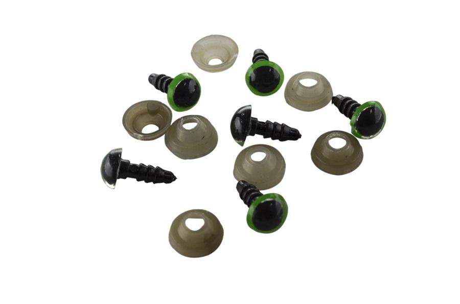 Yeşil Amigurumi Vidalı Göz 8 mm