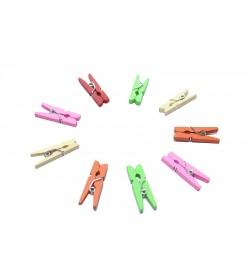Karışık Renkli Ahşap Mini Mandal 25 mm