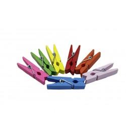 Karışık Renkli Ahşap Mini Mandal 35 mm