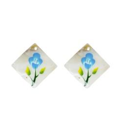 Sedef Kare Kolye Ucu ve Küpe Aparatı Çiçek Desenli